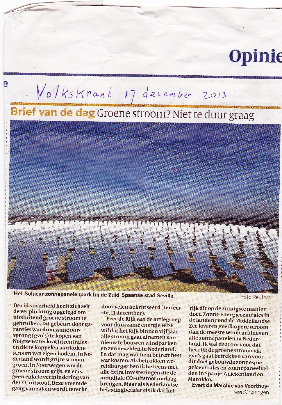 Ingezonden brief in de Volkskrant van 17 december 2013